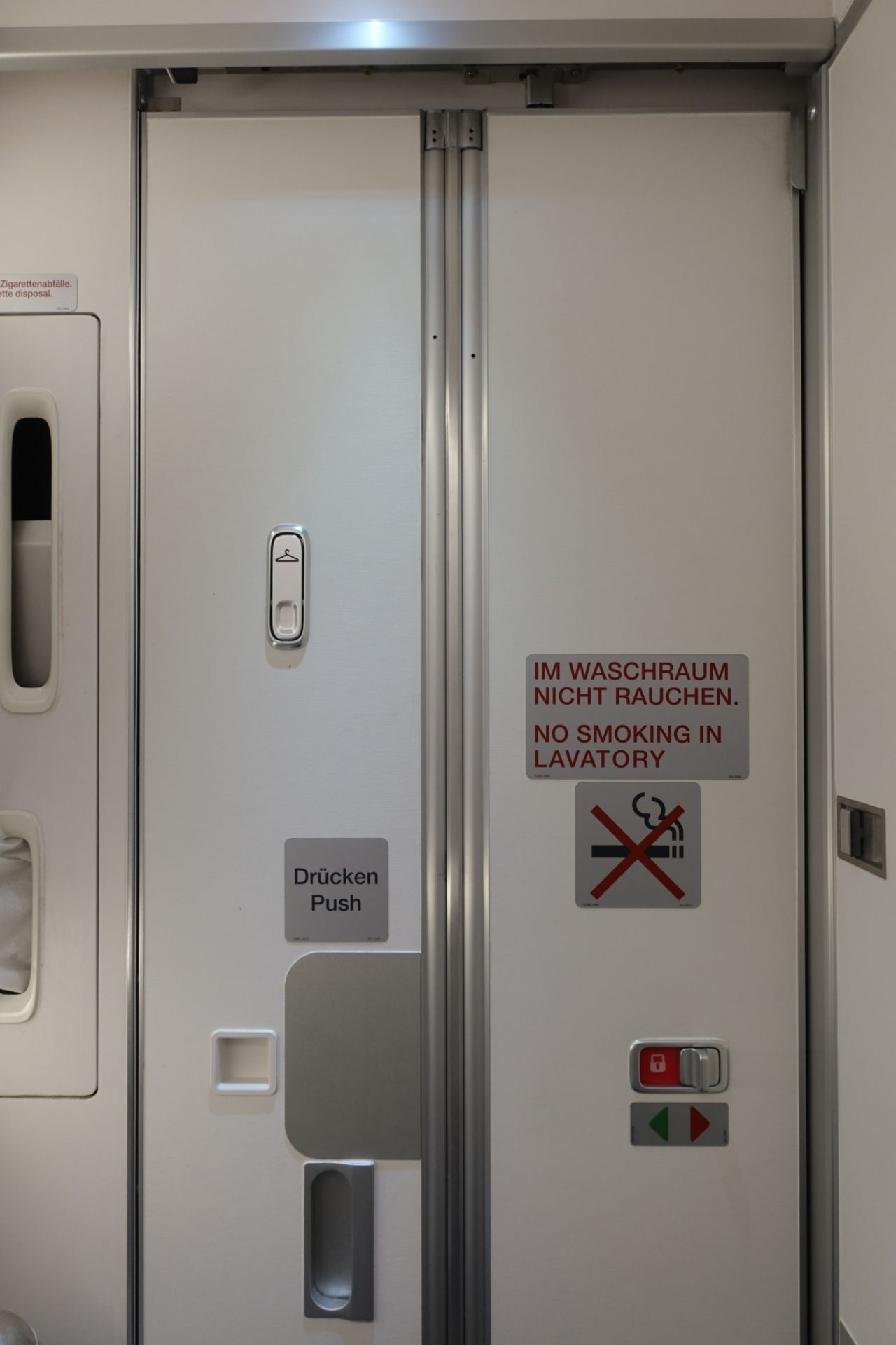 There are two lavatories at the back of the plane. I took the one in the middle next to the galley. Well as you can see the toilet was really small. & Review of Lufthansa flight from Munich to Hamburg in Economy