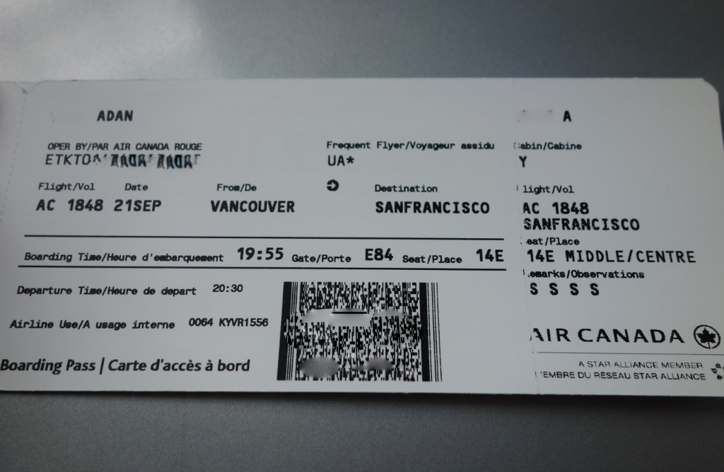 review of air canada rouge flight from vancouver to san. Black Bedroom Furniture Sets. Home Design Ideas